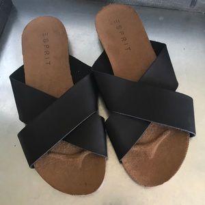 NWOT Esprit black slip on slide sandals